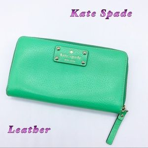 Kate Spade-Green Leather Large Dual Wallet